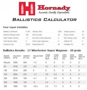 17 Winchester Super Magnum Ballistics 20 grain