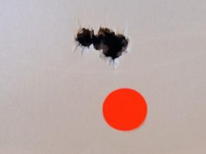 First five JSB King Heavy Pellets at 50 yards.  Half inch orange dot.