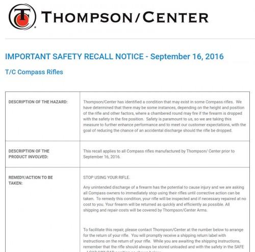 Thompson Center Compass Recall